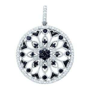 Fashion Pendant 10k White Gold Charm (0.49 Carat) Jewel Roses