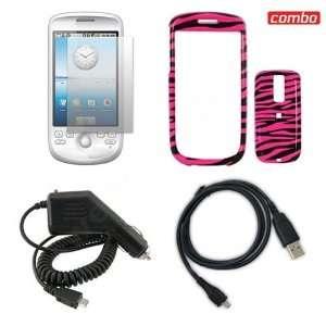 HTC G2 Combo Hot Pink/Black Zebra Design Protective Case