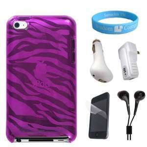 Attractive Silicone Pink Zebra Case for iPod Touch 4G