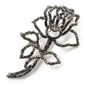 Luxurious Large Swarovski Crystal Rose Brooch (Silver