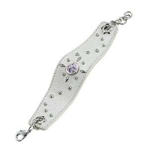 White Leather Bracelet with a Flower Swirl Patterned Studs