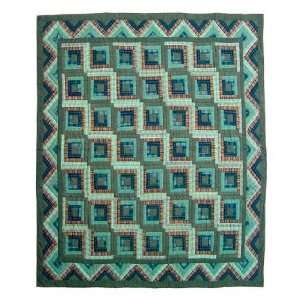Exclusive By Patch Quilts Quilt Twin Green Log Cabin Home & Kitchen