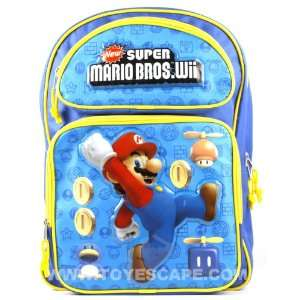 Super Mario Bros Wii Large Backpack Toys & Games
