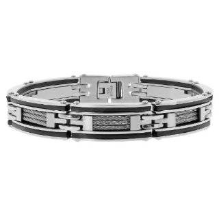 Mens Stainless Steel Rubber Bracelet with Black Plating and Cable, 8