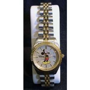 Disney Mickey Mouse Womens Two Tone Wristwatch
