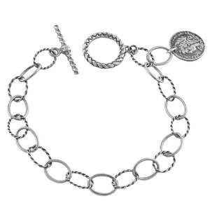 Captivating Oxidized Sterling Silver Lady Coin Charm Bracelet Jewelry