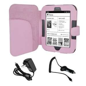 Premium Pink Leather Cover Case + Black Rapid Wall Charger