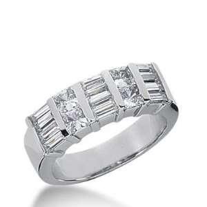 14k Gold Diamond Anniversary Wedding Ring 4 Princess Cut, 12 Straight