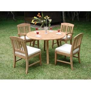 Set  52 Round Table And 4 Armless Chairs [ModelSM2] Patio, Lawn