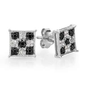 Black & White Round Cut Diamond Square Shaped Micro Pave Stud Earrings