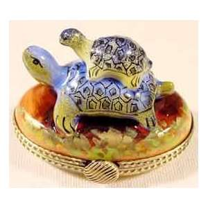Turtle with Small Turtle French Limoges Box Home