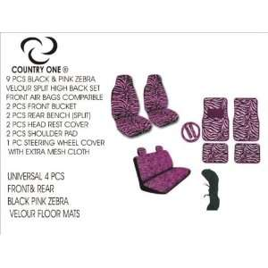 BLACK & PINK ZEBRA CAR SEAT COVER 13PCS SET INCLUDING 4 PCS CAR