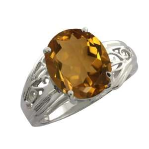 4.30 Ct Oval Whiskey Quartz Argentium Silver Ring Jewelry