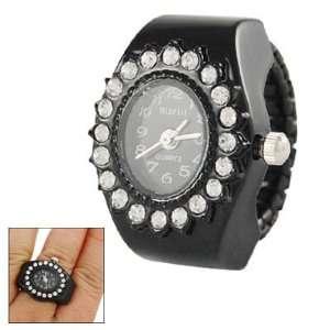 Como Ladies Stretch Band Oval Dial Finger Ring Quartz Watch Black