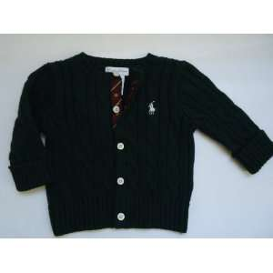 Polo Ralph Lauren Pony Dark Hunter Green Cable Cardigan Sweater, Size