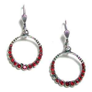 Sterling Silver Plated Circle Red Swarovski Crystal Earrings Jewelry