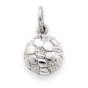 14k White Gold Soccer Ball Pendant Jewelry