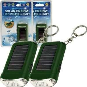 Solar Energy LED Flashlight With Keychain   Green