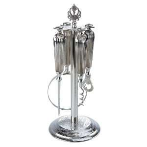 Desk/Bar Accessory Set on Decorative Stand, 13 Inch H