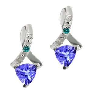 44 Ct Trillion Blue Tanzanite and Blue Diamond 10k White Gold Earrings