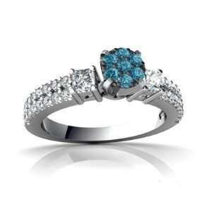 14K White Gold Blue Diamond Engagement Ring Size 9 Jewelry