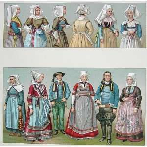 FRANCE Folk Costume Fashion of Brittany Brides Peasants