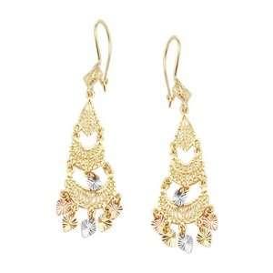 14k Yellow Tri Color Gold Dangle Chandelier Earrings Jewelry