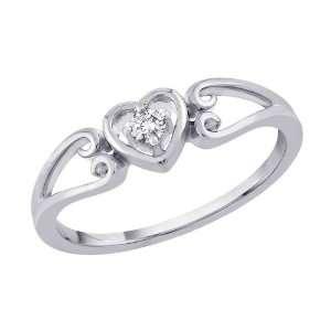 10K White Gold 0.05 ct. Diamond Heart Ring Katarina Jewelry