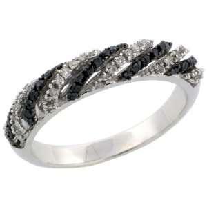 14k White Gold Striped Dome Diamond Ring Band, w/ 0.40 Carat Brilliant