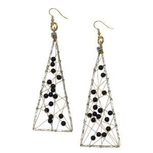 Brana Handmade Onyx Wire Wrapped Aluminum Triangular Earrings Jewelry
