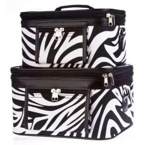 Case Cosmetic Toiletry 2 Piece Luggage Set Black & White Zebra Print