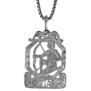 925 Sterling Silver 3/4 in. (19mm) Tall Zodiac Pendant (w/ 18 Silver