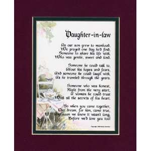 A Gift For A Daughter in law. Touching 8x10 Poem, Double