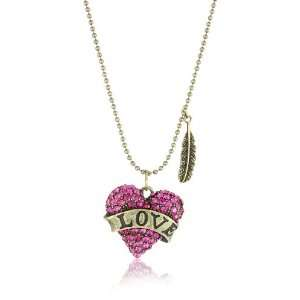 Betsey Johnson Lady Luck Pink Love Heart Pendant