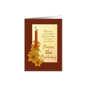 Happy 21st Birthday Tiger Lily Candle Card: Toys & Games