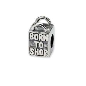 Born to Shop, Shopping Bag Charm in Sterling Silver for Pandora, Kera