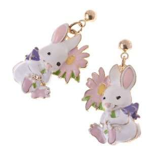 Spring Easter Jewelry Sweet Bunny with Flower Dangle Charm