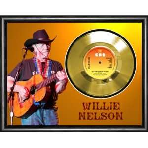 Willie Nelson Blue Eyes Crying Framed Gold Record A3