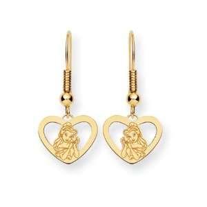 Disneys Belle Heart Earrings in 14 Karat Gold Jewelry
