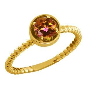 0.60 Ct Round Ecstasy Mystic Topaz 18k Yellow Gold Ring Jewelry