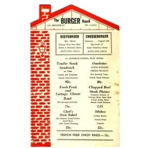 The Burger Ranch Menu Brick House Shaped Menu Everything