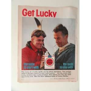 Lucky Strike cigarettes. 1963 full page print ad(2 men skies