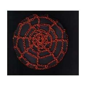 Red Metallic Spider Web Crocheted Hair Bun Cover  LARGE