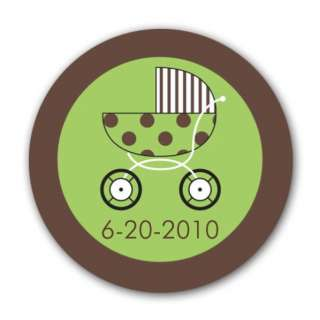 Baby Stroller Green Round Stickers  PaperStyle