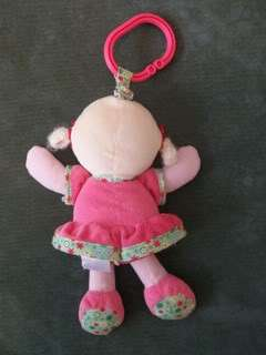 CARTERS Giggle Shake Blonde Doll Toy Lovey Pink Flowers Crinkly Feet