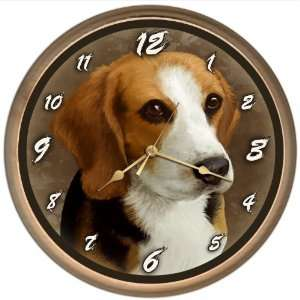 Beagle Dog Clock 8 Round Basswood with Natural Finish New