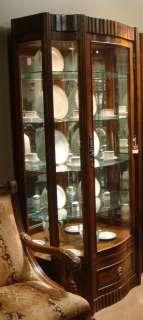Antiqued Walnut Curio Display China Cabinet FREE S/H