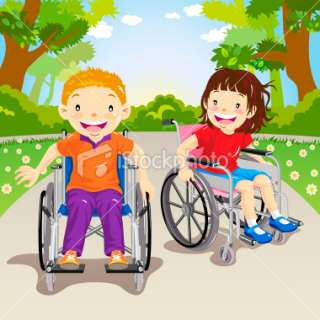 Wheelchair Child Cruising Around the Park Royalty Free Stock Vector
