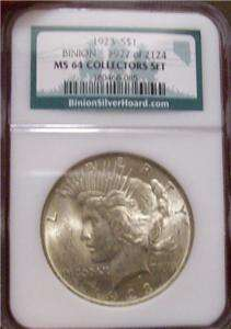 1923 Silver Peace Dollar NGC MS 64 Binion Hoard Collection Antique US