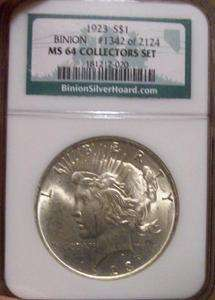 1923 Silver Peace Dollar NGC MS 64 Collectors Set Binion Hoard Coin